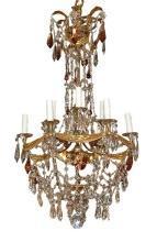 Italian Brass & Crystal Chandelier