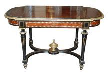 French Ebonized & Pearl Center Table