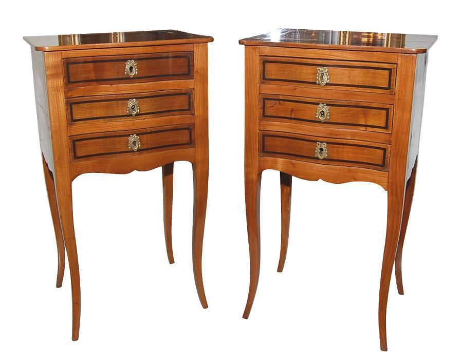 Pair French Walnut Side Tables