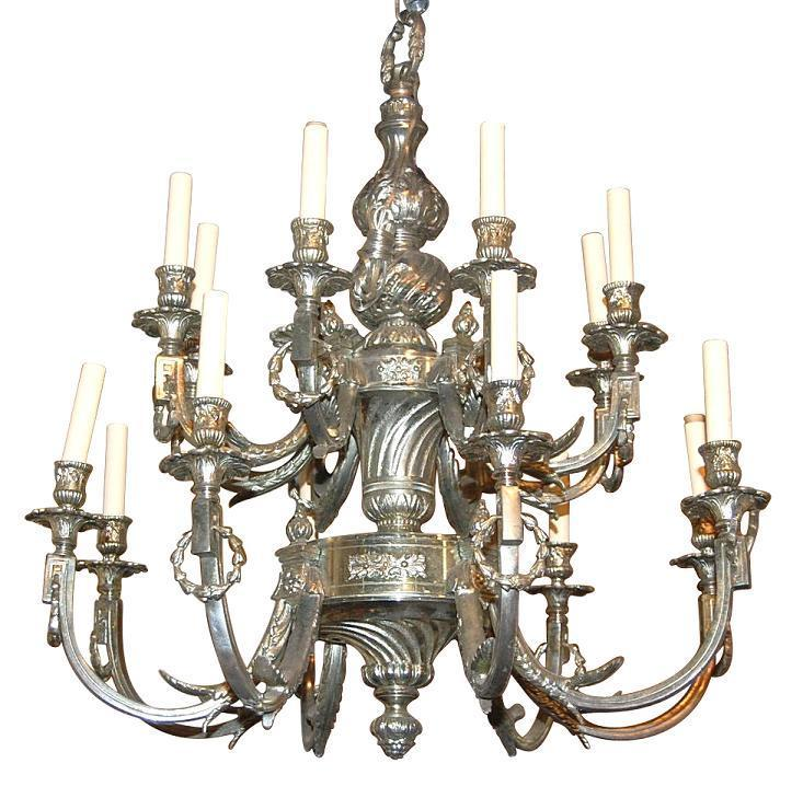 French Silvered Bronze Chandelier