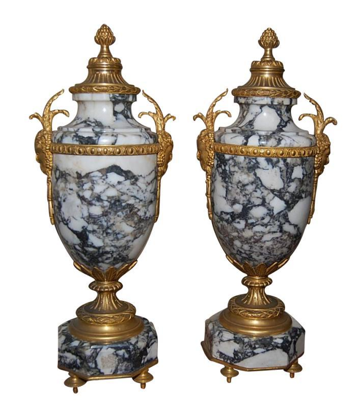 Pair French Marble Urns