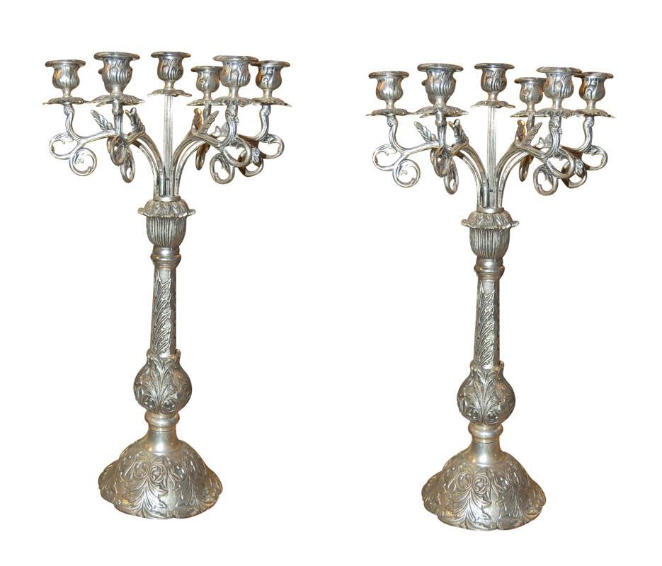 Pair Continental Silvered Iron Candelabra