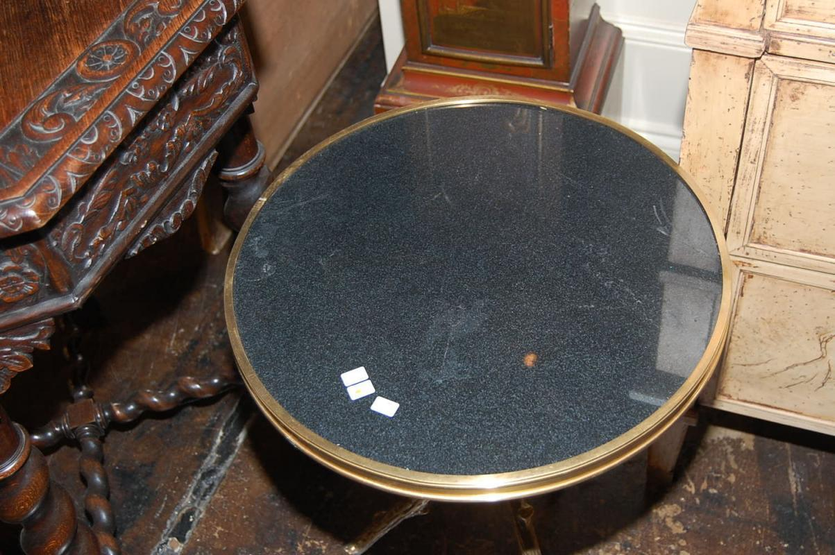 Petite Bronze & Granite Side Table