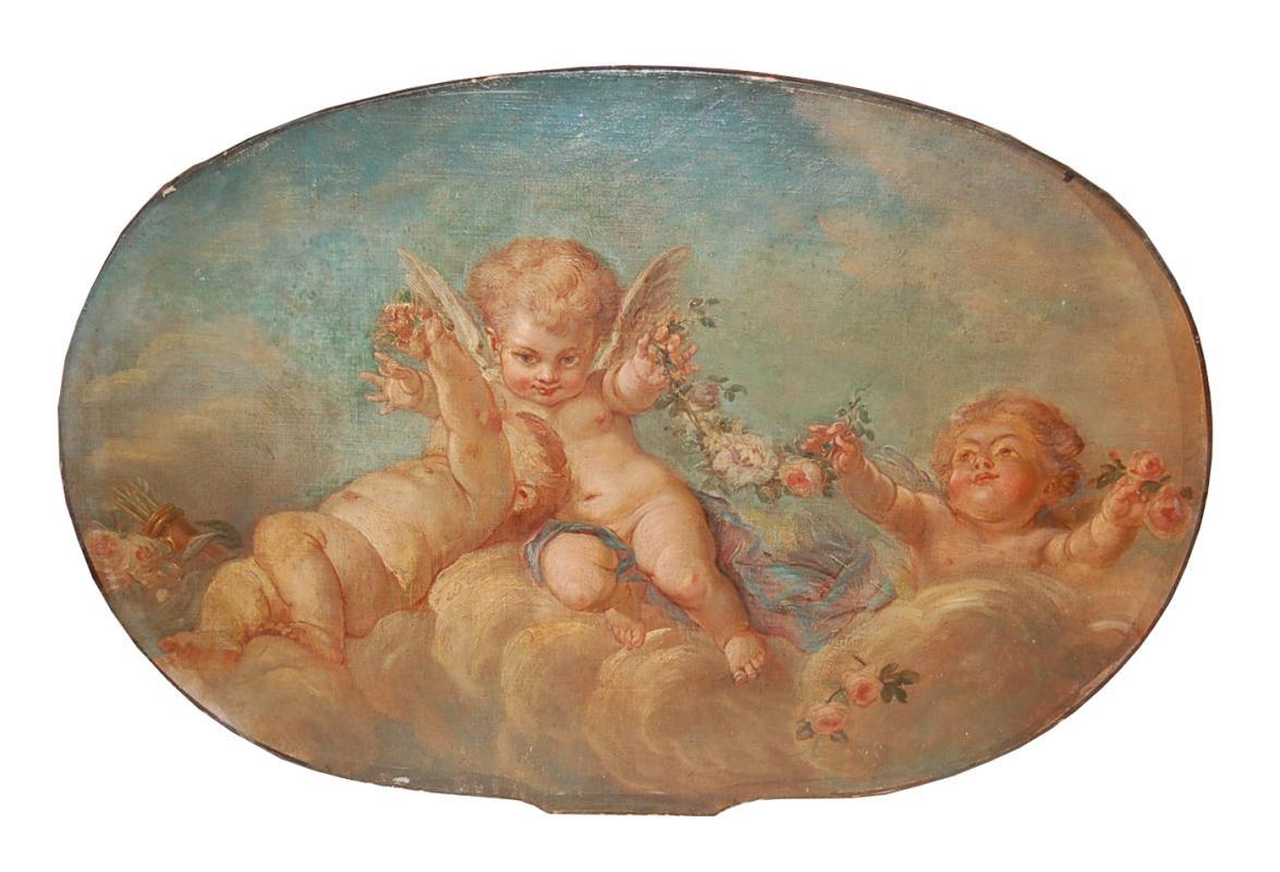 French Oval Cherub Painting