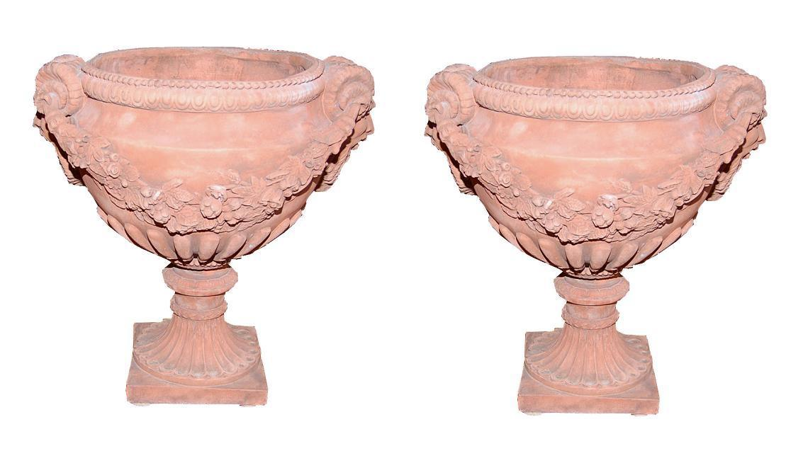 Pair English Terra Cotta Urns