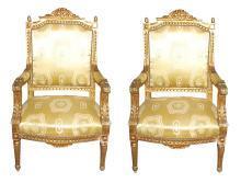 Louis XVI Style Giltwood Armchairs