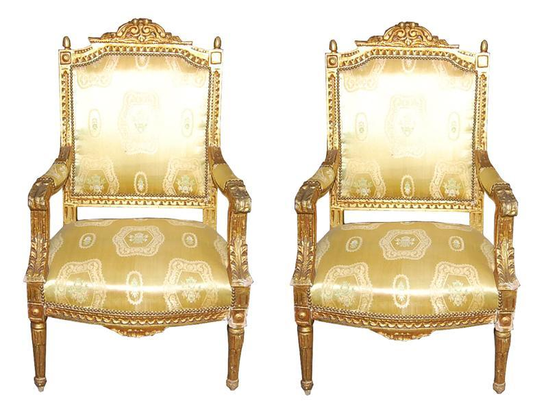 Louis XVI Style Giltwood Armchairs