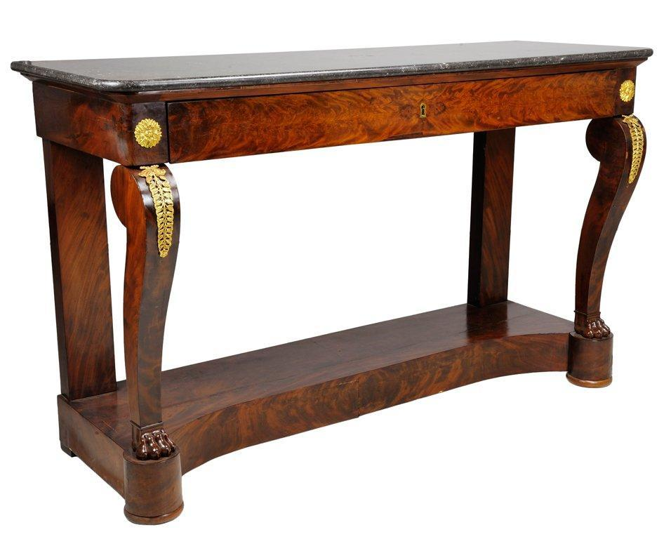 19th Century French Empire Mahogany Console