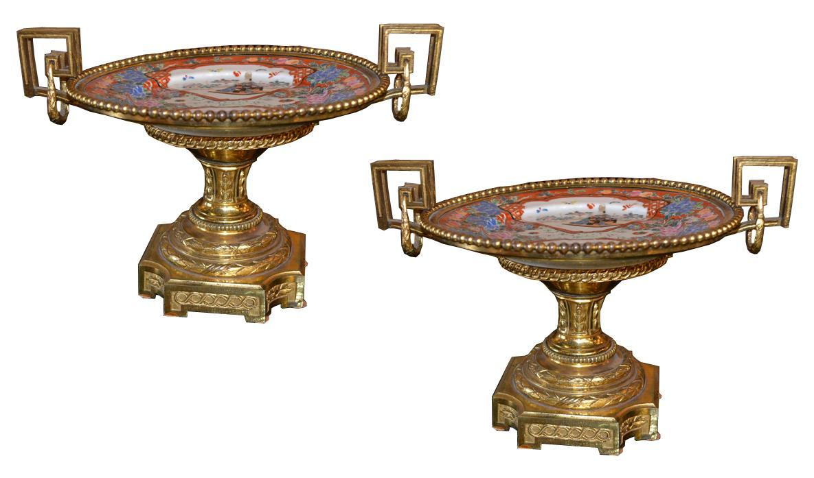 Pair Bronze Imari Tazzas