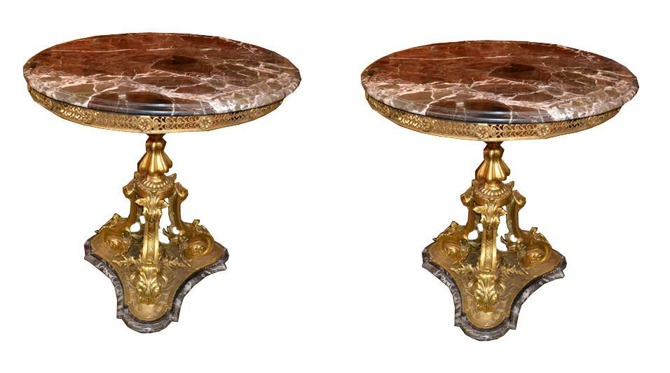 Exceptional Pair Gilt Bronze Side Tables