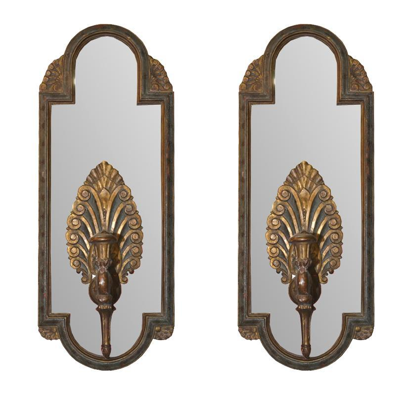 Pair Antique Italian Mirrored Sconces