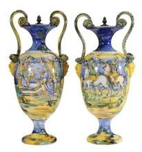 Pair Italian Faience Urns
