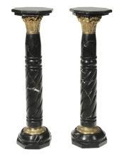 Pair French Black Marble & Bronze Pedestals