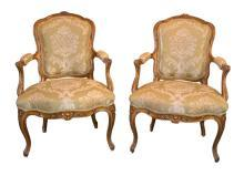 Pair French Louis XV Fauteuil