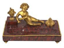 19th Century French Rouge Marble Inkwell