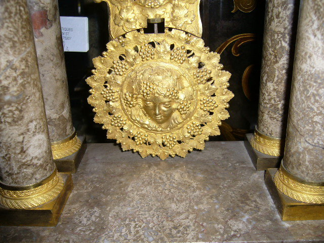 A Incredible French Napoleon III Marble and Dore Bronze Mantle Clock