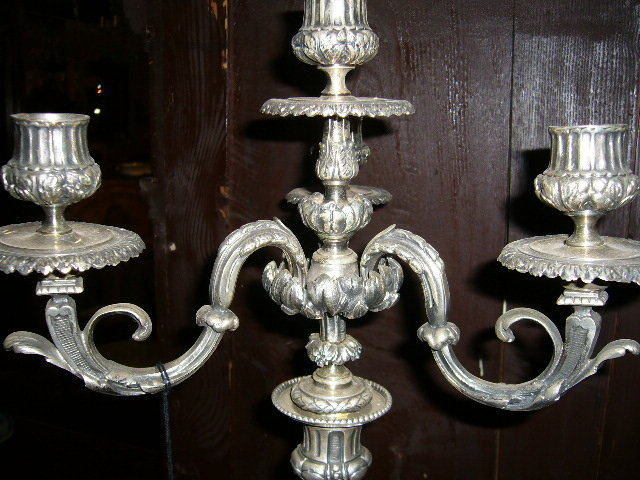 A Nice Pair of Bronze Silver-Plated Candelabras