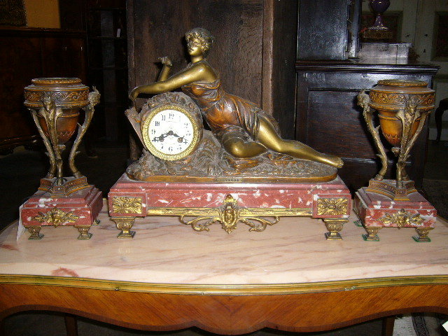 A Superb French Spelter Clock Set