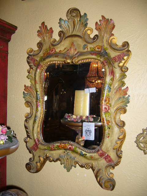 A Fabulous Venetian Lacquered Hand-painted, Hand-carved Mirror