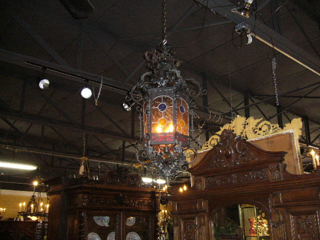 A Great French Lantern Featuring Leaded Glass Panels with three lights