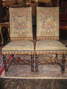 A Impressive Pair Of Flemish Petipoint Tapestry Side Chairs