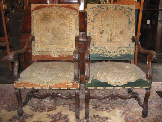 A Great Pair of 19th Century French Walnut Armchairs with Original Needlepoint