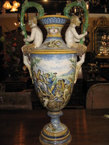 An impressive large Italian double handled urn
