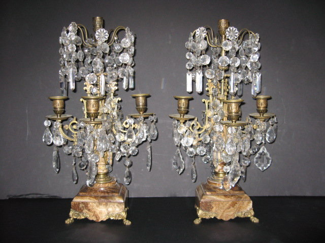Pair of French marble, bronze and crystal
