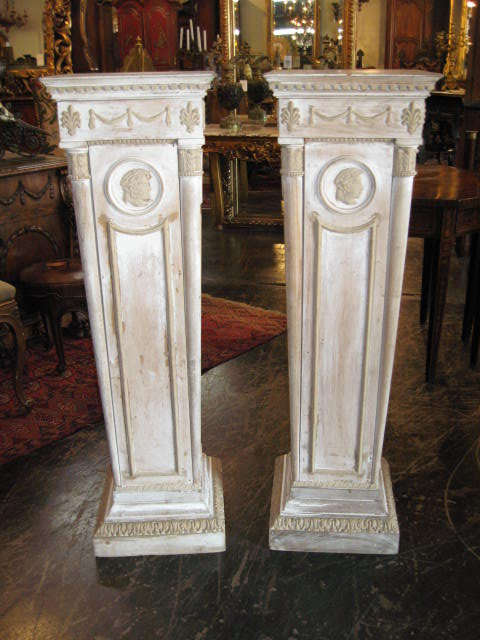 Pair of Painted Neo-Classical Pedestals