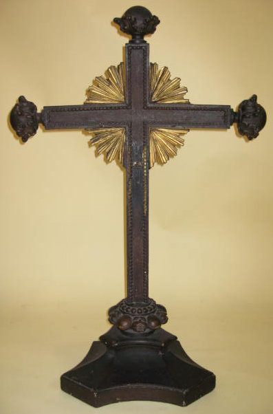19th Century Carved Wooden Cross Circa 1870