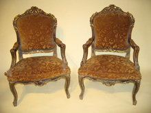 19th Century Pair French Carved Gilded Louis XV Armchairs