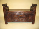 19th Century Intricately Carved Chestnut Hall Bench from Provence, with Carved Panels.  Circa 1840