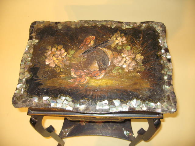 19th Century English Black Lacquered Sewing Stand circa 1870