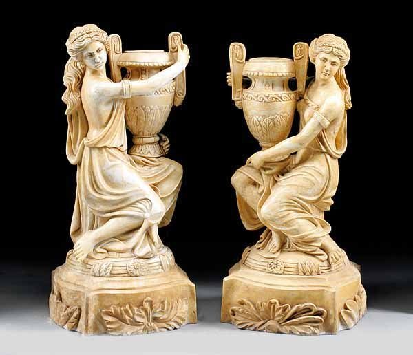 Pair of Sienna Marble Maidens