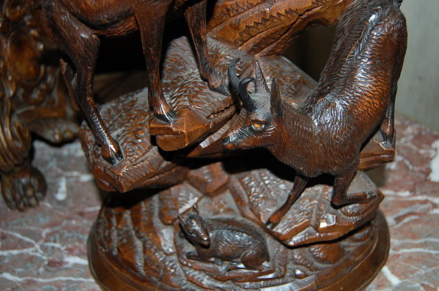 19th Century Swiss Carved Ram Centerpiece