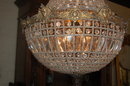 French Crystal & Bronze Basket Chandelier