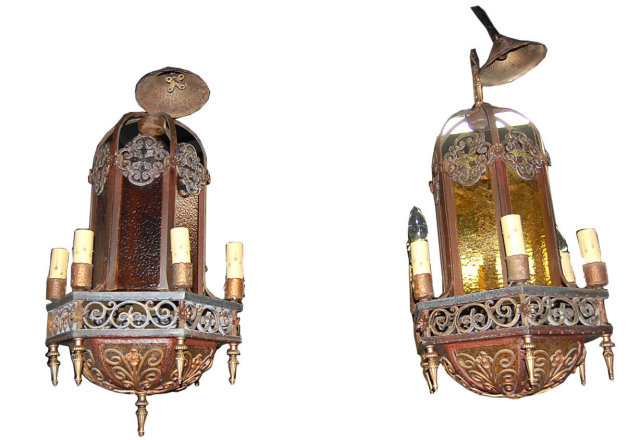 Pair of Iron & Glass Lanterns