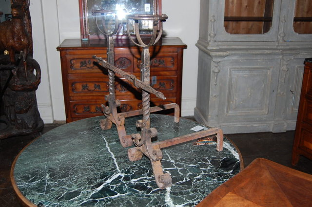 Pair of French Antique Andirons