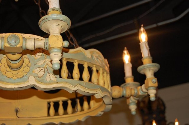 French Provincial Wood Chandelier