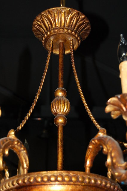 French Carved & Lacquered Chandelier