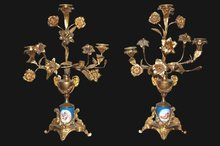 Pair of French Sevres & Bronze Candelabra