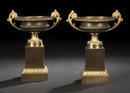 Fine Pair of French Empire Bronze Urns