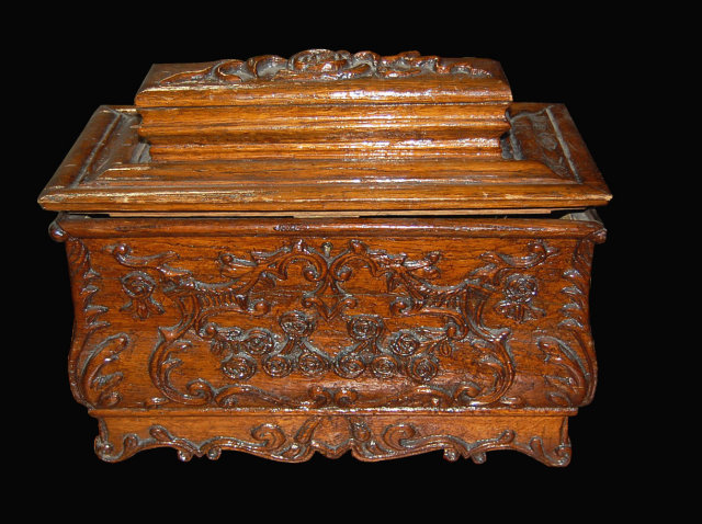 19th Century French Carved Chestnut Box