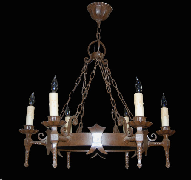 French Iron Medieval Chandelier