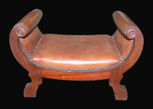 English Leather & Walnut Foot Stool