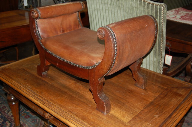 English Leather & Walnut Foot Stool
