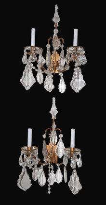 Pair of French Crystal Wall Sconce