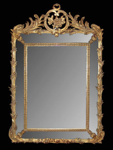French Louis XV Giltwood Cushion Mirror
