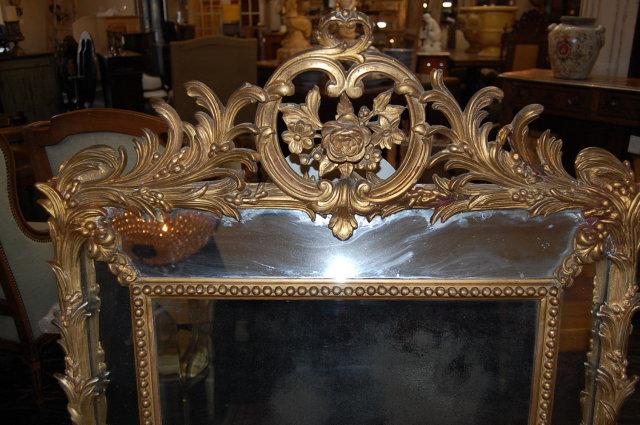 French Louis XV Giltwood Cushion Mirror
