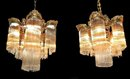 Unusual Pair of American Victorian Brass & Crystal Chandeliers
